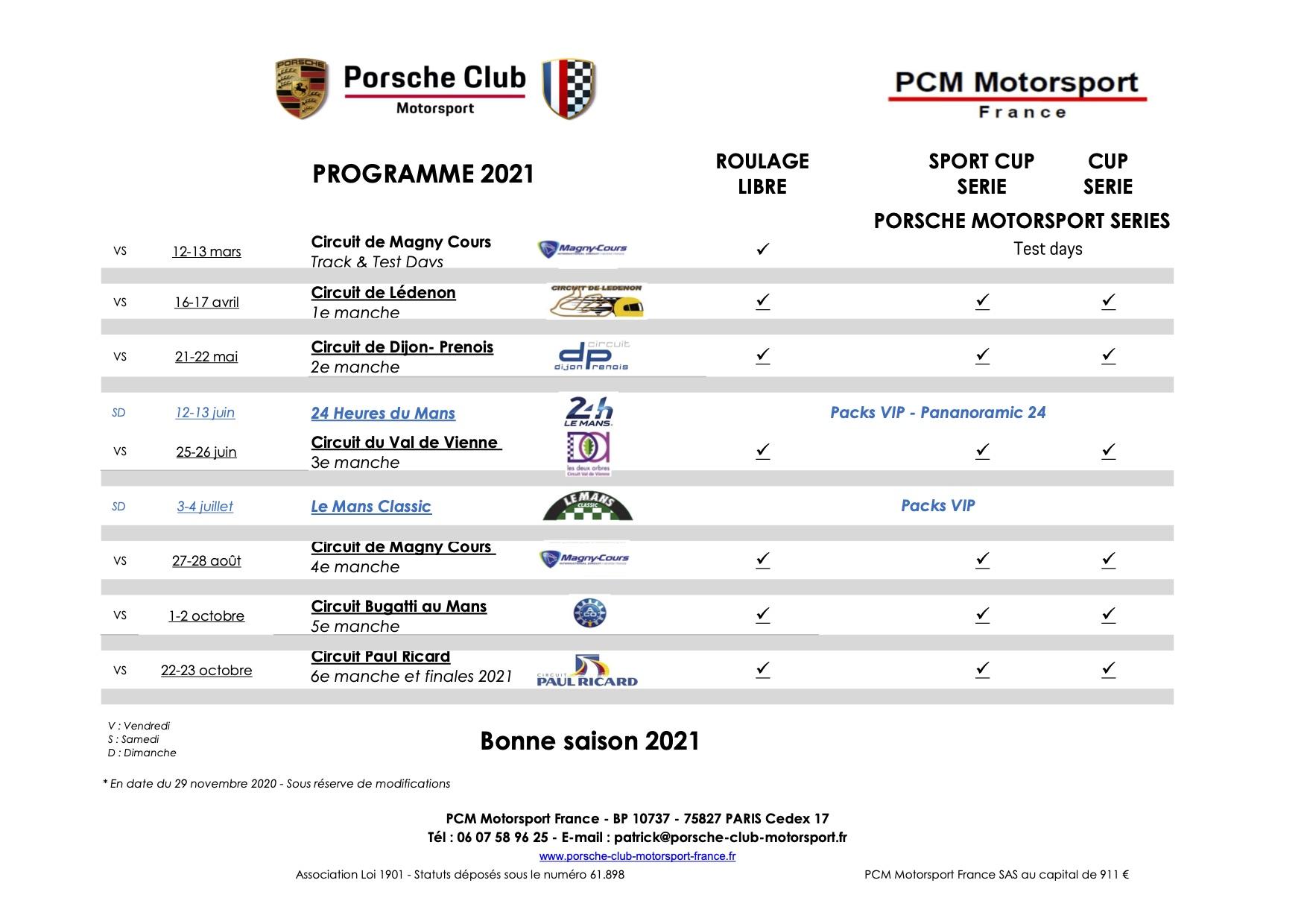 Porsche Club Motorsport - Programme 2021